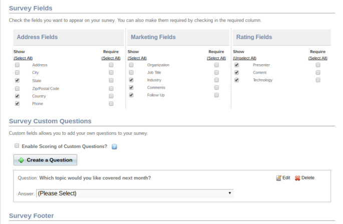 Survey-Custom Fields